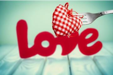 Heart on stainless steel fork