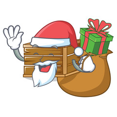 Santa with gift gicrate mascot cartoon style