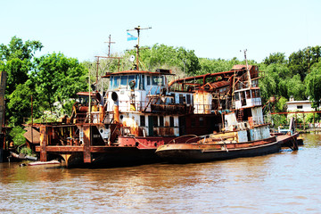 Wrecked Ship in the River