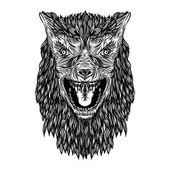 Ferocious wolf head. Angry front face of roaring werewolf. Tattoo flash concept isolated on background. Halloween concept. Vector.