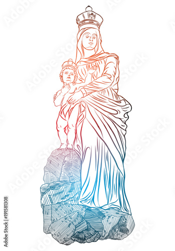 christmas nativity scene of virgin mary holding baby jesus hand