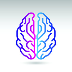 A stylish human brain icon from the top down view.