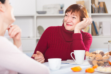 Mature woman drinking tea and talking with daughter