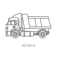 Line flat vector icon construction machinery truck tipper. Industrial style. Corporate cargo delivery. Commercial transportation. Building. Business. Engineering. Diesel power. Illustration for design