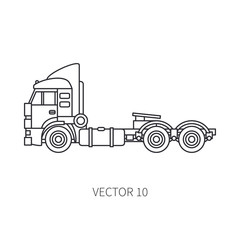 Line vector icon construction machinery truck container. Industrial style. Corporate cargo delivery. Commercial transportation. Building. Business. Engineering. Diesel power. Illustration for design.