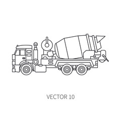 Line vector icon construction machinery truck cement mixer. Industrial style. Corporate cargo delivery. Commercial transportation. Building concrete. Business. Engineering. Diesel. Illustration design