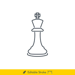 King Icon / Vector - In Line / Stroke Design (Chess Pieces/Chessman)