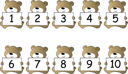 cartoon animal hold numbers