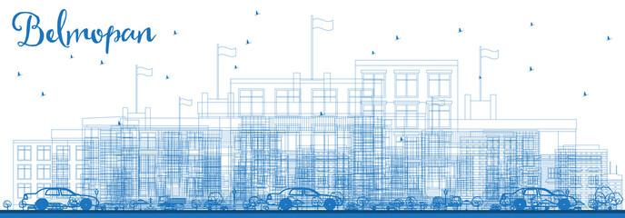 Outline Belmopan City Skyline with Blue Buildings.