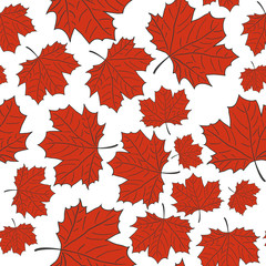 Hand Drawn Maple Leaf Seamless Pattern. Vector