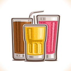 Vector illustration of refreshing Drinks, poster with carbonated cola, fresh pink raspberry juice with pulp and yellow lemon fizzy drink in glass with straw, set of different beverages for cafe menu.