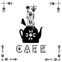 Vector concept of a cafe signboard. Black teapot with growing plants in ethnic style.