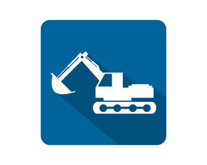 blue white excavator excavation heavy machinery builder image vector icon logo