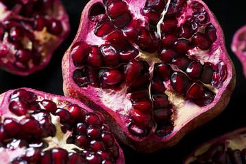 Detail of an open pomegranate