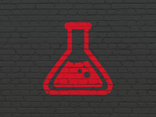 Science concept: Painted red Flask icon on Black Brick wall background