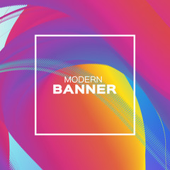 Liquid Wave Poster. Colorful Smoke Shapes with Square frame. Space for text. Abstract Colorful Dynamic Effect on blue. Modern Template Banner.