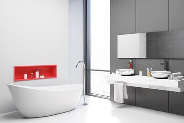 White and gray bathroom corner