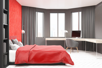 Gray and red bedroom, computer