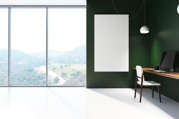 Green office interior, poster