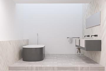 Modern bathroom with a gray tub