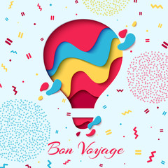 Bon Voyage paper art concept of hot air balloon in sky with clouds over mountains. Vector travel origami paper cut banner