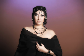 Middle eastern culture: belly dancer in black