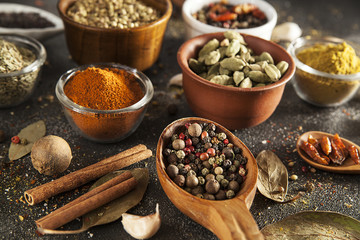 spices, variety of colorful aromatic spices, pepper, mustard, chili, coriander, cinnamon, cardamom