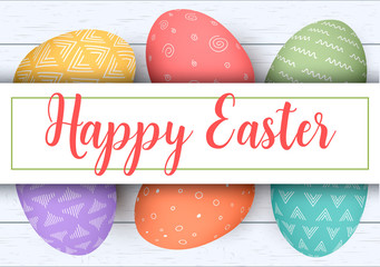 Happy Easter stripe with text. Colorful easter eggs on white wooden background. Your design, elegant ornaments