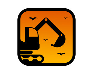 dusk excavator silhouette excavation heavy machinery builder image vector icon logo