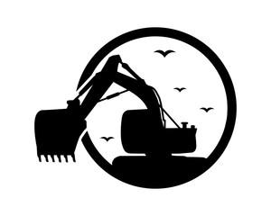 black excavator excavation heavy machinery builder image vector icon logo