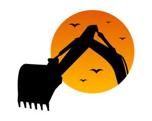 excavator dusk excavation heavy machinery builder image vector icon logo