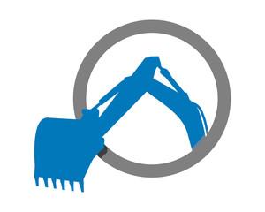 blue excavator excavation heavy machinery builder image vector icon logo
