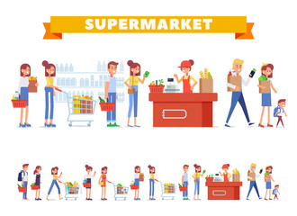 People Shopping in supermarket Big vector set. Flat Vector character woman cashier in supermarket. Concept illustration for banner. Cartoon modern style.