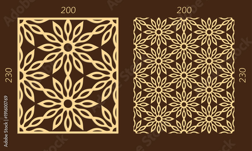 Laser Cutting Set Woodcut Vector Panel Plywood Lasercut Eastern Design Hexagonal Seamless Pattern