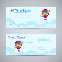 Travel design flyer template set paper art concept of hot air balloon in sky with clouds. Vector travel origami paper cut horizontal banners set