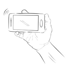 Sketch of Hand Holding Smartphone
