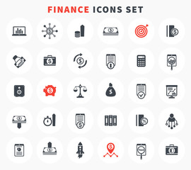 30 finance icons set, investment, shares, stocks, funds, assets, analytics, financial instruments, investing pictograms on white