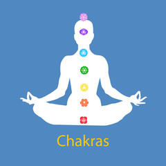Famale body in lotus yoga asana with seven chakras on blue background. Root, Sacral, Solar, Heart, Throat, 3rd Eye, Crown chakras. Drawing Vector illustration eps10