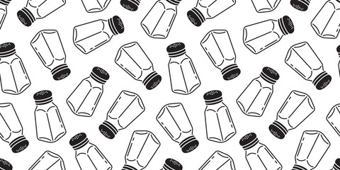 pepper seamless pattern Salt sugar shaker bottle isolated wallpaper background