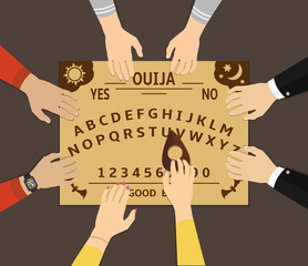 Ouija board playing. A group of people communicate with spirits through a spiritual board ouija. Flat design vector illustration.