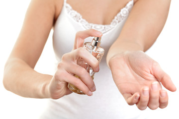 Woman trying perfumes