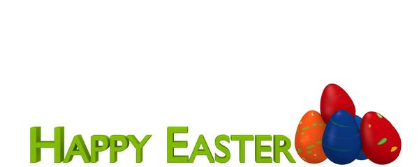 Spruchband mit bunten Ostereiern und dem Text Frohe Ostern. 3d render