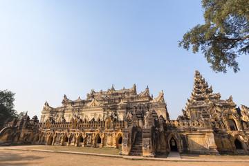 Maha Aungmye (Aung Mye) Bonzan monastery (also known asn Me Nu Ok Kyaung or Me Nu's Brick Monastery) in Inwa (Ava) near Mandalay in Myanmar (Burma). Copy space.