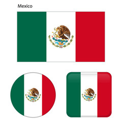 Flag of Mexico. Correct proportions, elements, colors. Set of icons, square, button. Vector illustration on white background.