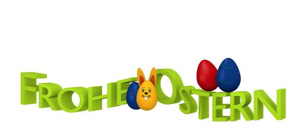 Spruchband mit bunten Ostereiern, Osterhasen und dem deutschen Text Frohe Ostern. 3d render