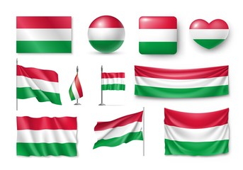 Set Hungary flags, banners, banners, symbols, flat icon. Vector illustration of collection of national symbols on various objects and state signs