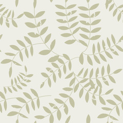 Seamless floral pattern with stylized textured twigs and leaves in retro scandinavian style.