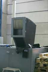 factory shop production of polyethylene film mechanisms machine tools lifting mechanism wires hoses switches pressure gauges pressure temperature molten mass work place enterprise