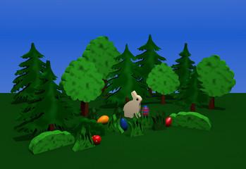 Osterlandschaft mit Häschen, bunten Eiern, bäumen, Sträuchern und Büschen auf grüner wiese mit blauem Himmel. 3d render