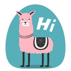 Cute. Lama. Greeting. Scandinavian. Funny. Children's. Print, postcard. For your design.